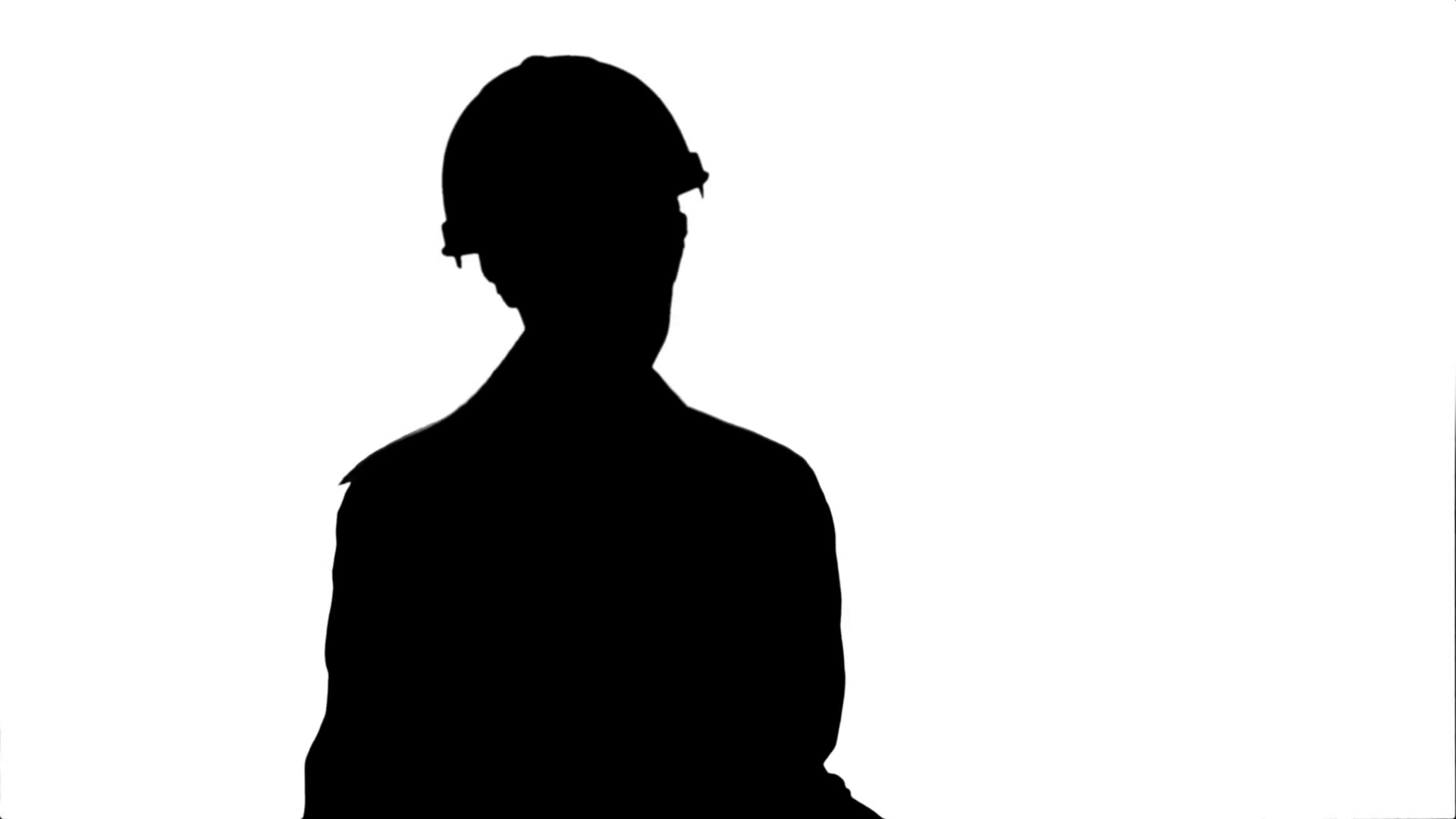 1920x1080 Silhouette Female Engineer In Helmet Reading Contract And Nodding