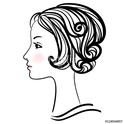 500x500 Woman Face Silhouette. Female Head With Stylish Hairdo. Stock