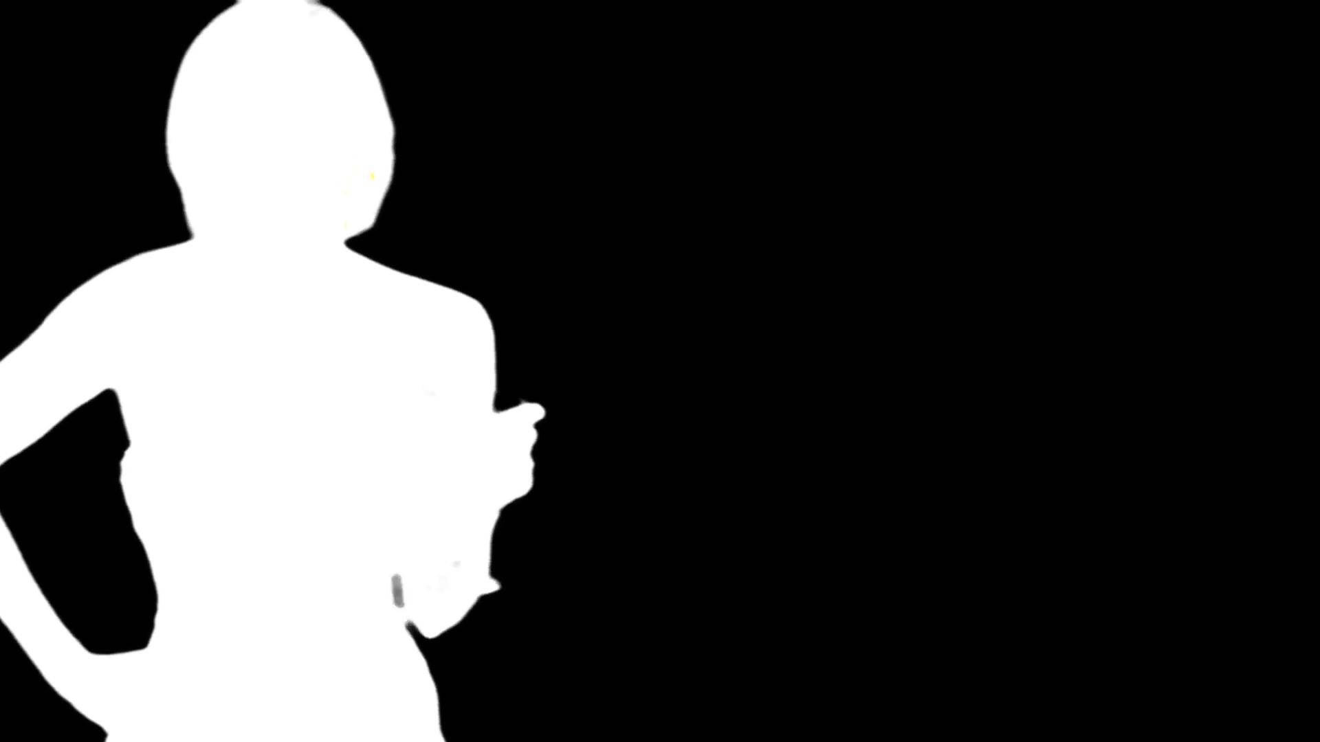 1920x1080 Bw Silhouette Female Upper Body Head Slow Turn Tilt Up Stock