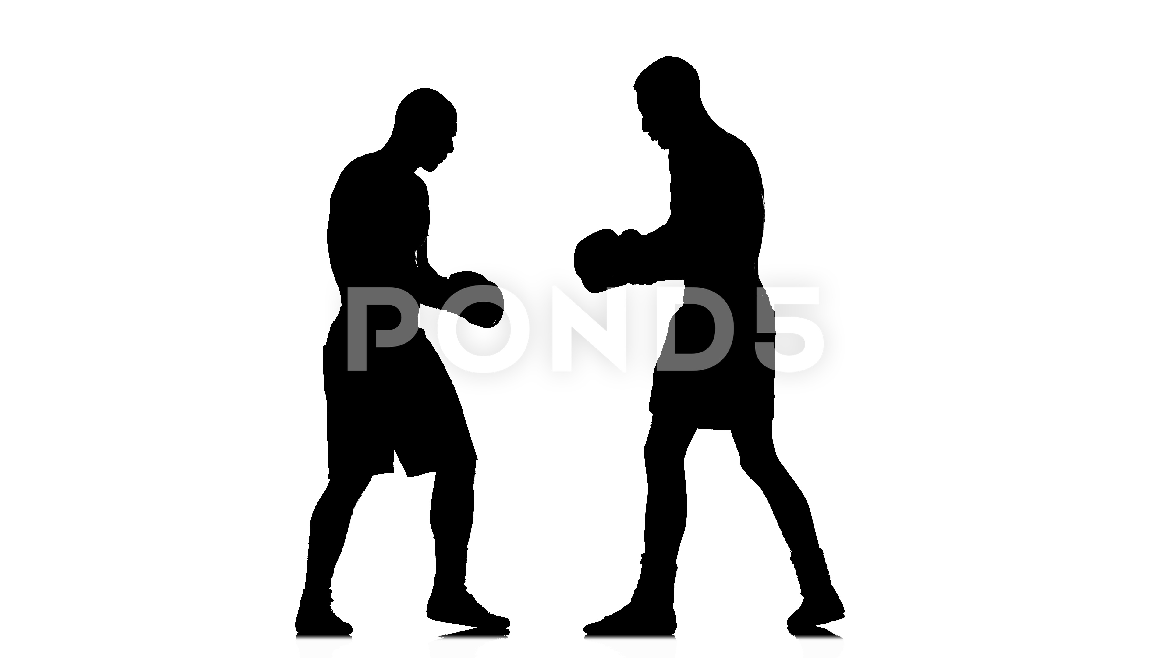 3840x2160 Intensive And Intense Fight Between Two Boxers. Black Silhouette