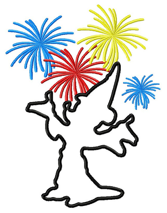 570x727 Mickey Fireworks Silhouette Embroidery Machine Applique