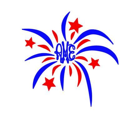 423x384 4th Of July Firework Monogram Cut File Download For By Bibberberry