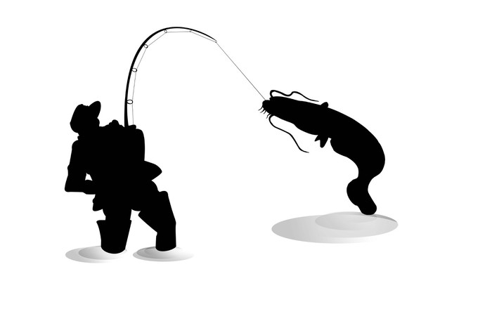 700x467 Silhouette Of Fisherman With Sheatfish Sticker We Live