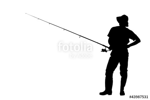 500x334 A Silhouette Of A Fisherman Holding A Fishing Pole Stock Image