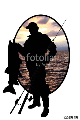 334x500 Silhouette Of Fisherman With Sheatfish Stock Photo And Royalty
