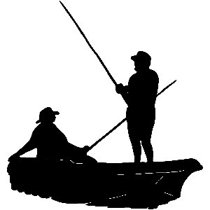 300x300 Silhouette Of Person On A Boat Clipart