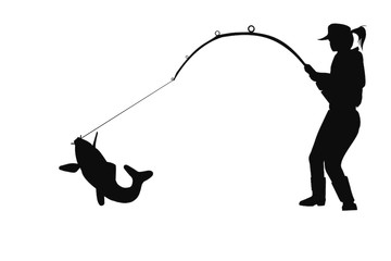 360x240 Girl Sitting Fishing Clipart Silhouette Collection