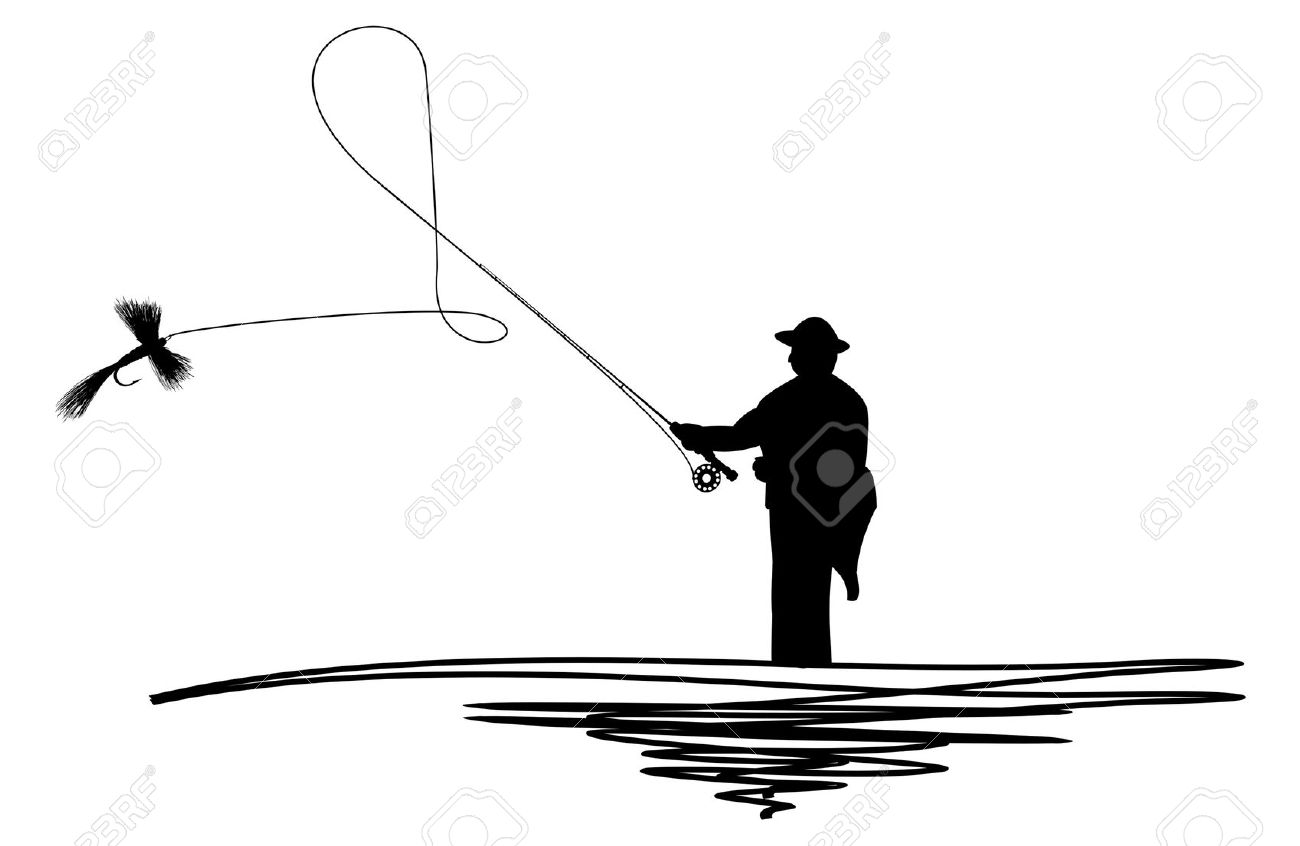 1300x846 Silhouette Of Man Fishing Clipart Collection