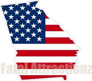 300x264 American Flag Georgia State Outline Vinyl Sticker Decal Ga