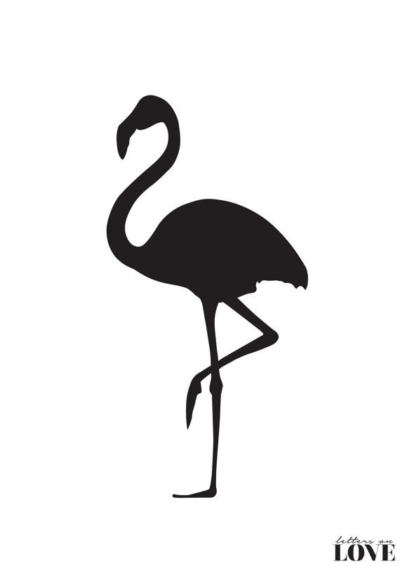 570x806 Flamingo Silhouette Black And White Typography By Lettersonlove