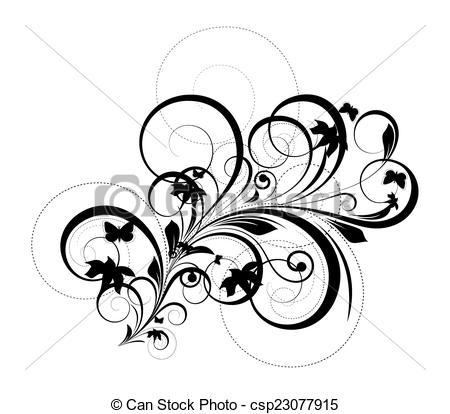 450x414 Decorative Floral Silhouette. Abstract Retro Swirl Flourish