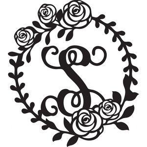 300x300 Floral Wreath Alphabet S Silhouette Design, Floral Wreath