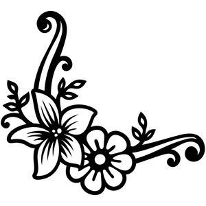 300x300 Lily Floral Corner Silhouette Design, Silhouettes And Corner