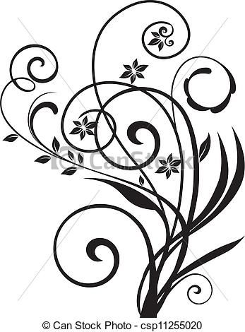 347x470 Swirly Floral Design Vector