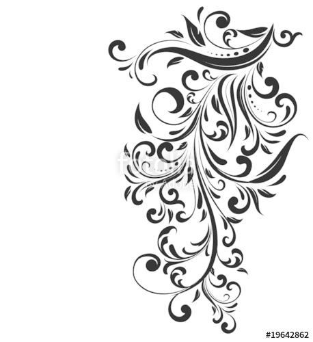 458x500 Abstract Floral Silhouette, Element For Design. Stock Image