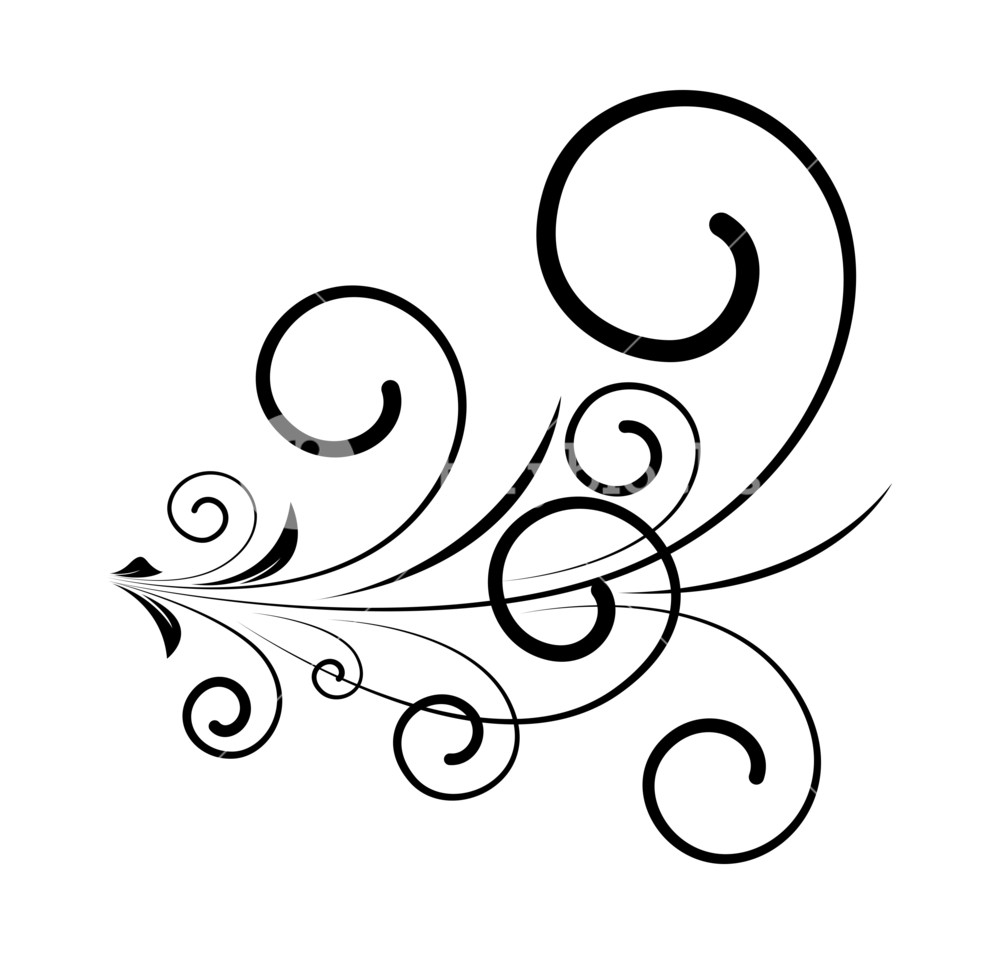 1000x954 Decorative Old Swirl Floral Silhouette Royalty Free Stock Image