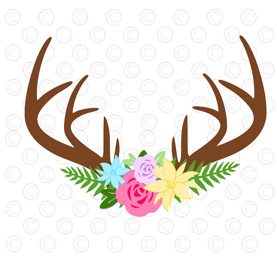 570x536 Floral Antler Svg Cut File, Antler Flower Svg Cut File, Silhouette