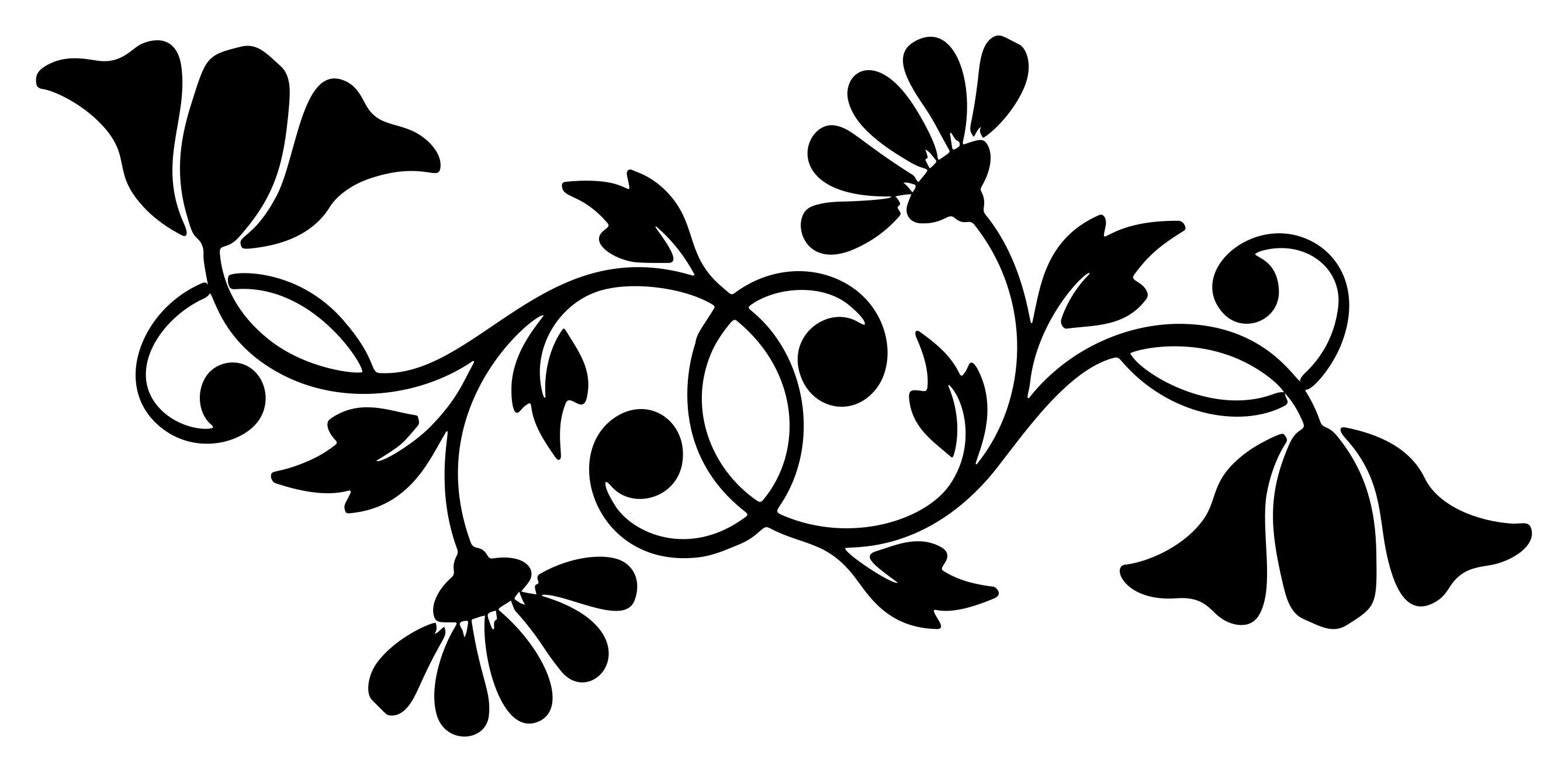 2683x1321 Floral Motif Silhouette Clipart