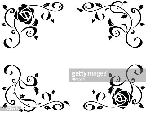 471x366 Frame With Beautiful Rose Flowers Black Silhouette Premium Clipart