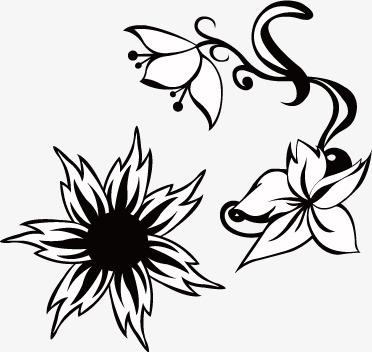 372x352 Black White Flowers, Black, White, Flowers Silhouette Png