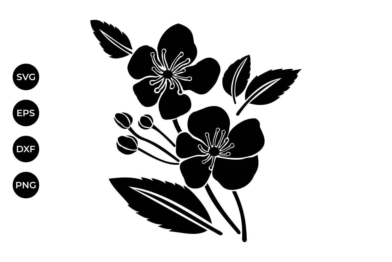 1502x1004 Cherry Flowers Silhouette Svg, Cherry F Design Bundles