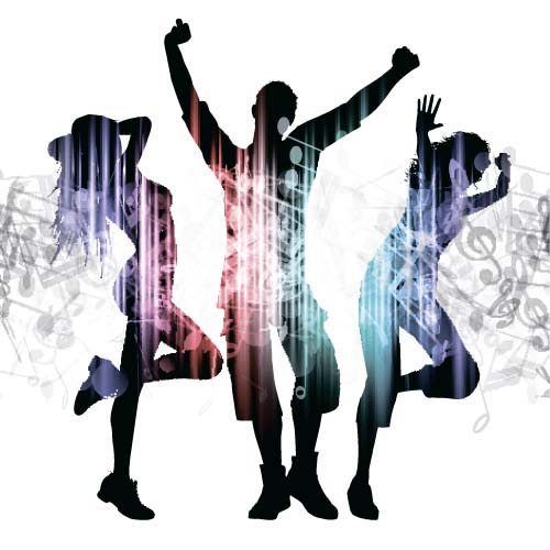 500x500 Music Party Backgrounds With People Silhouettes Vectors 10