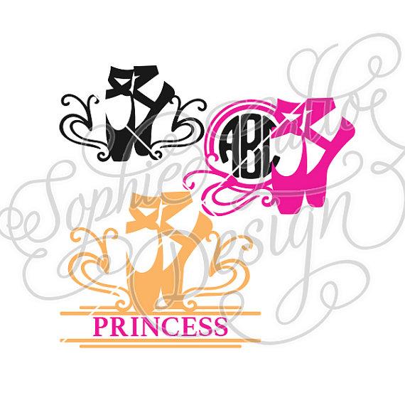 570x570 Ballet Shoe Monogram Design, Svg, Dxf Digital Download Files