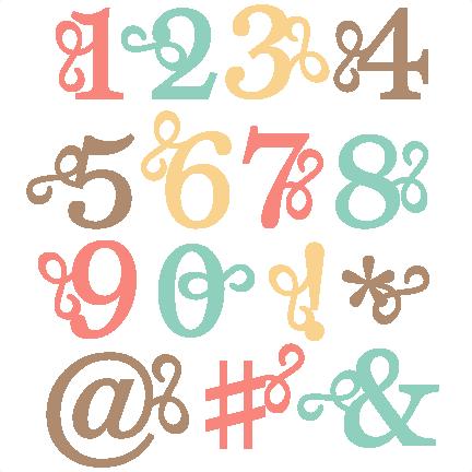 432x432 Flourish Number Set Svg Scrapbook Cut File Cute Clipart Files