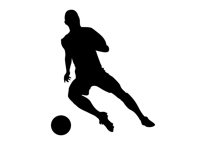 800x566 Football Player Black Vector Silhouette On White Background