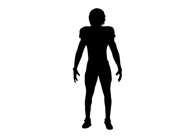 800x566 Football Player Silhouette On White Background