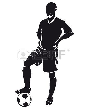360x450 Vector Football (Soccer) Player Standing Silhouette With Ball