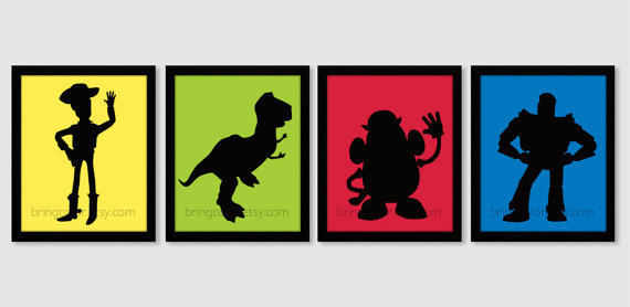 570x278 Toy Story Silhouette Set Of 4 Art Prints 8x10 For Kids Bedroom