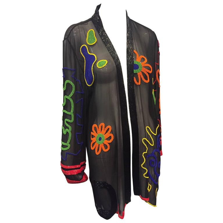 768x768 1980s Fabrice Silhouette Silk Chiffon Jacket With Bead Graffiti