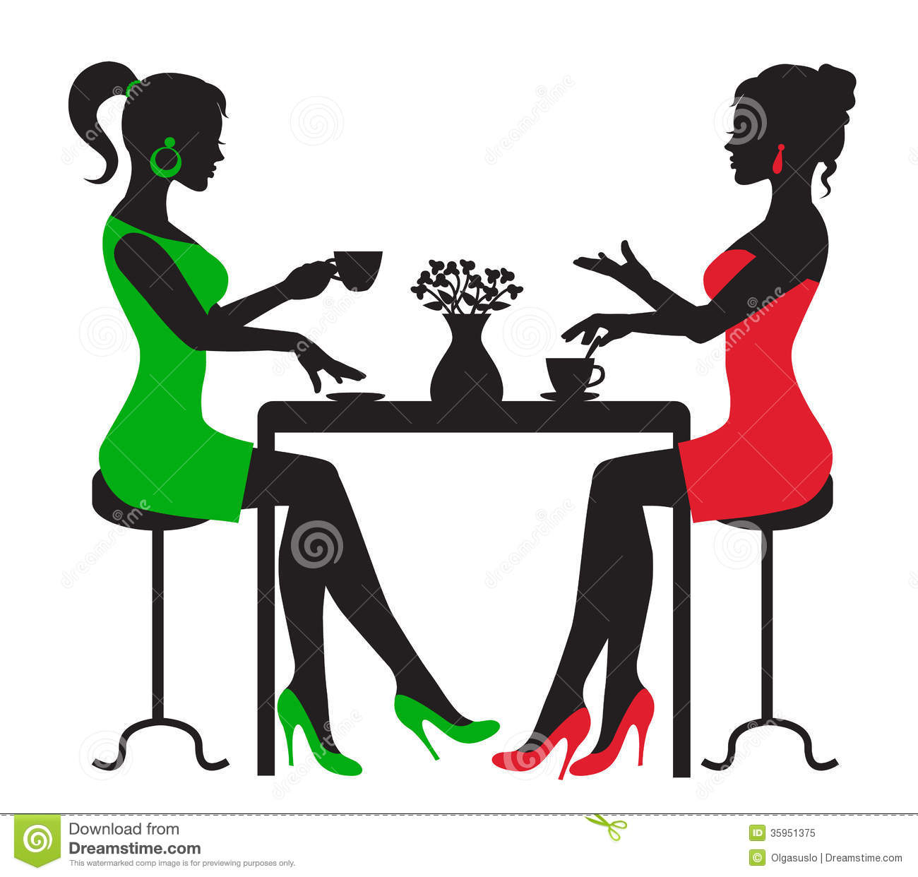 1300x1242 Two Women Drinking Coffee Table Silhouette White Background