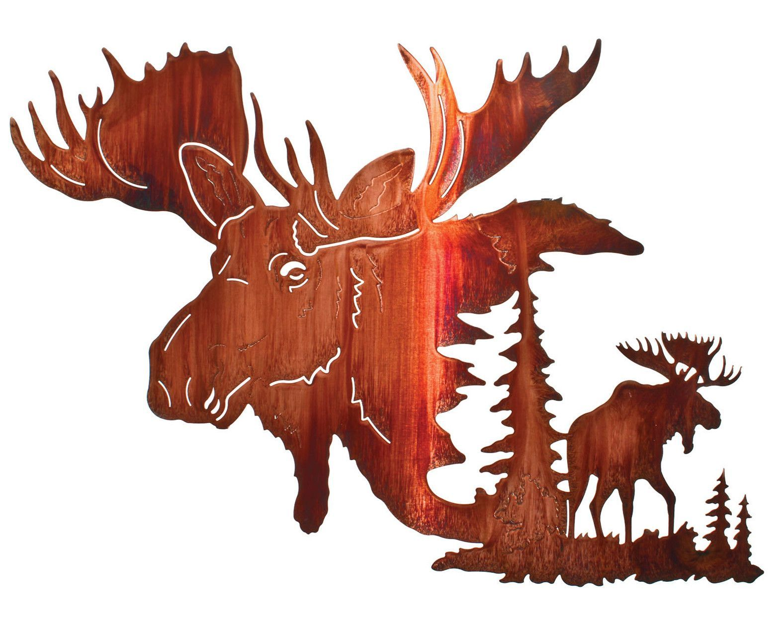 1557x1260 North Woods Moose Montage Metal Wall Hanging 10 Gourds