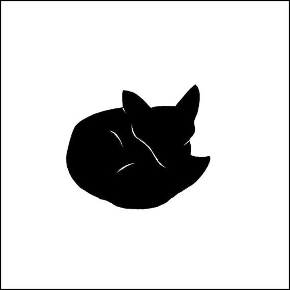 570x570 8x8 Tiny Fox Silhouette. Woodland. Pen Amp Ink. Black And White