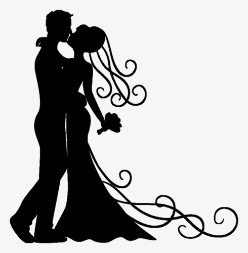 490x500 Couple Silhouette, Black Silhouette, Embrace, Kiss Png Image