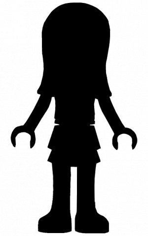 300x478 Lego Friends Silhouette Girl. Template Stencil Sjabloon For All