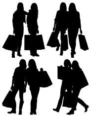 184x235 Silhouette Of Female Friends Carrying Shopping Bags Stock Vector