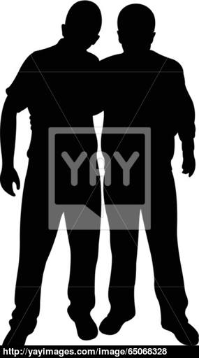 285x512 Two Friends Silhouette Vector Vector