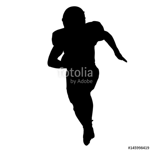 500x500 Football Player Running With Ball In His Hand, Vector Silhouette