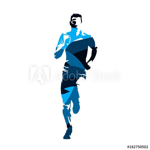 500x500 Running Man, Abstract Blue Vector Silhouette, Front View