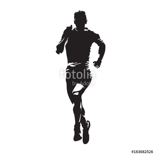 500x500 Running Man, Abstract Vector Silhouette. Front View Marathon