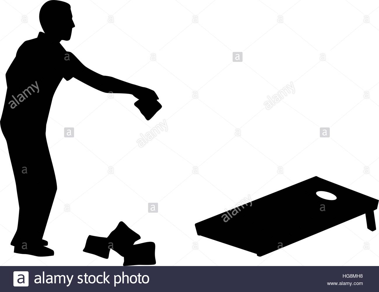 1300x1001 Man Playing Cornhole Game Silhouette Stock Vector Art