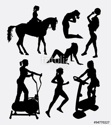 445x500 Sport Women Activity Silhouette. Good Use For Symbol, Web Icon