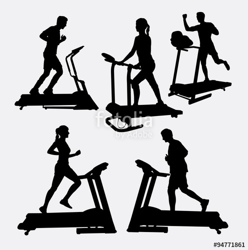496x500 Treadmills Sport Activity Silhouette. Good Use For Symbol, Web