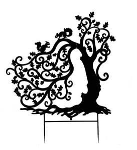 273x300 Tree With Squirrels Silhouette Garden Stake Ebay