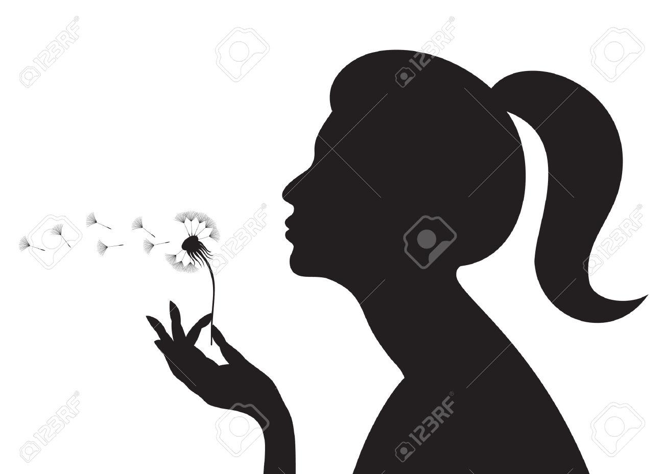 1300x928 Girl Blowing Dandelion Drawing