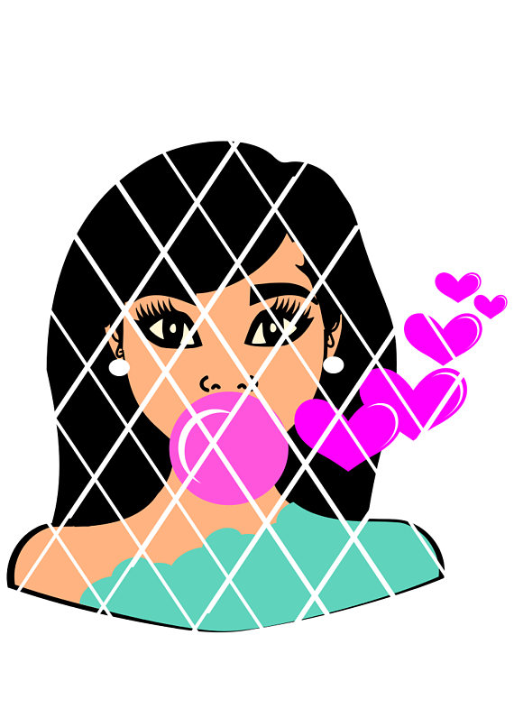 570x806 Girl Blowing Bubble Svgelsa Svg Valentine Svgafro