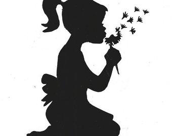 340x270 Silhouette Girl Blowing On Dandelion Rainbow Watercolor